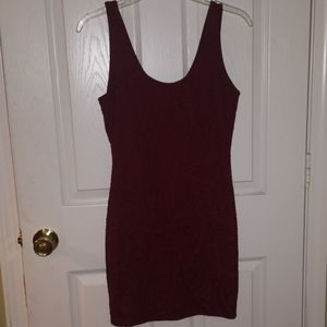 Burgandy smooth textured dress by forever 21